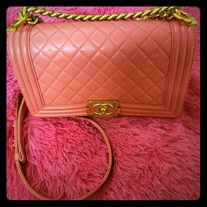 CHANEL Bags - chanel pink boy bag gold hardware